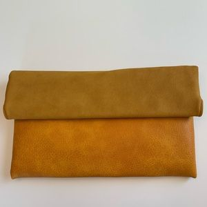 Marigold Foldover Suede and Vegan Leather Clutch
